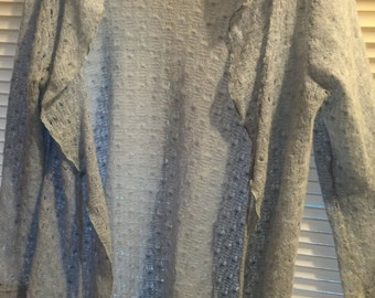 """Crochet sweater/duster open front with front tie/l/slv/open weave/30"""" long-fits med/large/Xlarge light blue unlabeled/ruffled collar"""