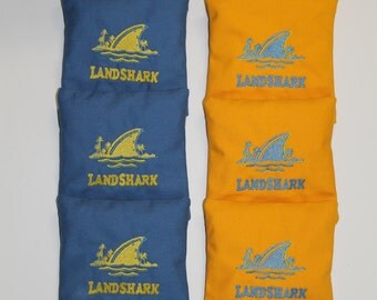 LANDSHARK LAGER with Text Cornhole Embroidered Bean Corn Bags aca Regulation