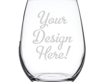Customized Stemless White Wine Glass-17 oz.-7911 Your Design Here!