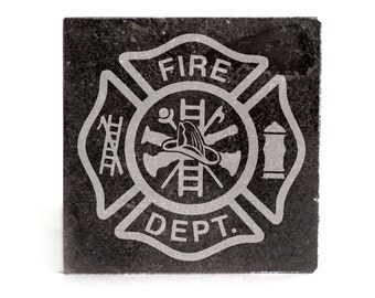 Coasters Set of 4 - black granite laser - 9928 Fire Dept