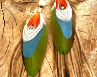Tribal Feather Earrings ~ Large Pair
