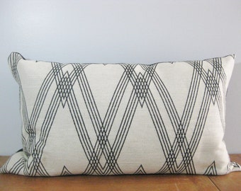 "Black and Bone /Light Tan Linen Blend Rectangular Pillow /Fully Lined / Home Decor / Living Room/ 26"" x 16"""