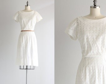 White Eyelet Dress . 60s 50s Cotton Dress . Vintage Wiggle Dress . Cotton Day Dress