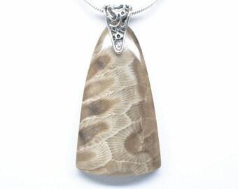 Petoskey Stone Pendant - Large Triangular Shape - Steling Silver Bail