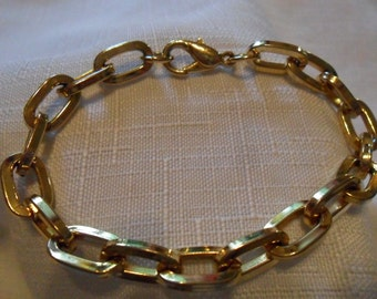 Vintage Gold Tone Large Link Chain Bracelet