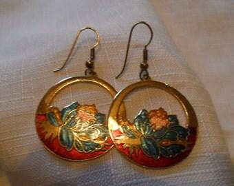 Vintage Cloisonne Brass Floral Earrings