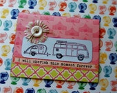 Glamping Card, Camping card, On the Road Again, Old VW Van card, Retro camper card, Travel card, Fun handmade card, Moving new address card