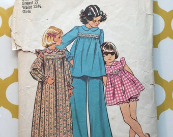 1973 Simplicity Sewing Pattern 5999 Girls Nightgown & Robe Size 8 cut- Girls Pattern,Pattern,girls nightgown pattern, girls robe pattern