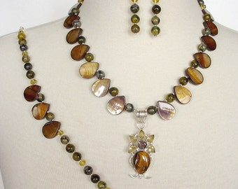 Tiger Eye Statement Necklace, Semiprecious Stone Necklace, Brown Artisan Necklace, 3 Piece Necklace Set, Gemstone Statement Necklace