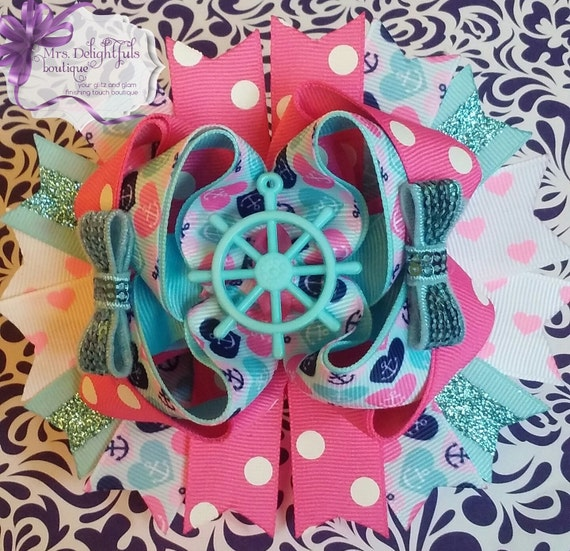 pink boutique bow, character bow,stacked bow, baby bow, hair bow, accessories, hair clip, princess bow , pink bow, blue bow, layered bow