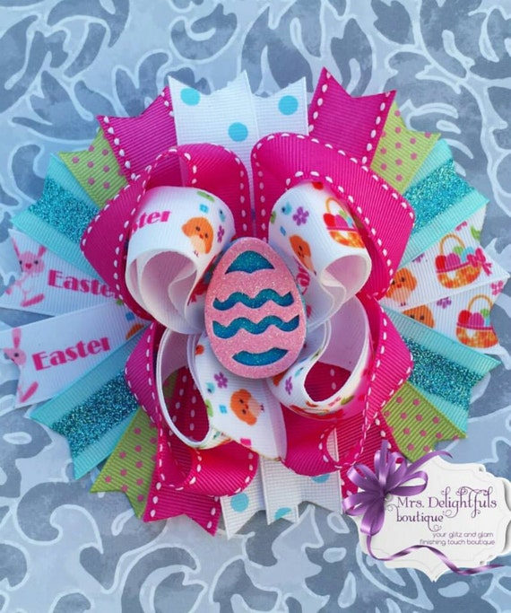 pink boutique bow, easter bow,stacked bow, baby bow, hair bow, accessories, hair clip, heart bow , pink bow, pink bow, layered bow