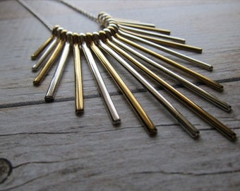 Gold and Silver Necklace- Graduated sizes, fan-style necklace