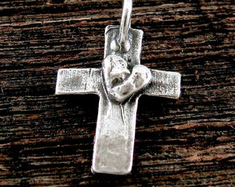 1 Artisan Sterling Silver Cross Charm with Puffed Heart Center  21.5mm AC44