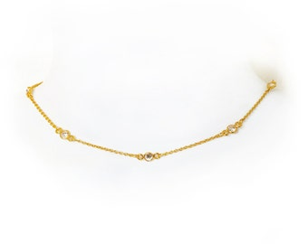 Gold Filled Crystal Delicate Chain Choker, delicate necklace, choker necklace, minimal jewelry