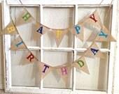 Birthday Banner, Happy Birthday Banner, Birthday Decoration, Burlap Birthday Banner, mini Birthday Banner, Birthday Party