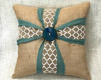 Cross Pillow, Burlap Cross Pillow, Mothers Day Gift, Cross Throw Pillow, Aqua Cross Pillow, Turquoise Cross, Throw Pillow, Burlap Pillow