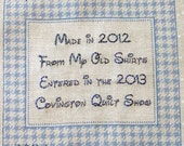 Quilt Label - Houndstooth, Custom Made & Hand Embroidered