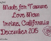 Quilt Label - Cotton, 5x3, Custom Made & Hand Embroidered