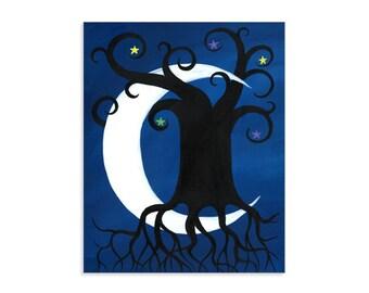 Moon and Tree - Modern Celestial Artwork