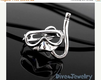 SALE Moveable Strap Snorkel MASK Sterling Silver diver Pendant Necklace