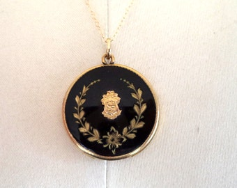 Vintage RBM Bee Atrice 1874 Gold Filled Enamel Locket and 14K GF Chain Necklace