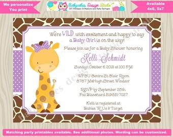 Girl Giraffe Baby Shower Invitation invite giraffe invitation giraffe invite Lavender purple baby sprinkle printable diy digital
