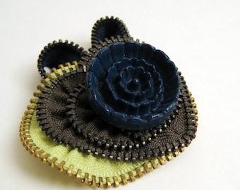 Little Mint Heart Zipper Brooch Pin