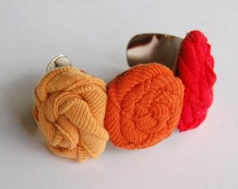 Floral Cuff Bracelet - Fall Fabric Jewelry