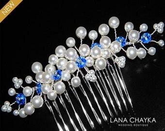 White Pearl Royal Blue Bridal Hair Comb Swarovski Pearl Crystal Floral Hair Piece Wedding Pearl Jewelry Sapphire White Pearl Bridal Comb