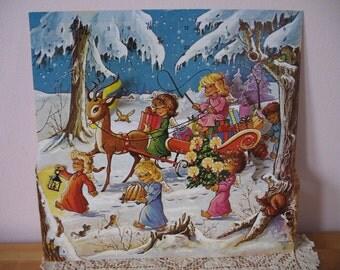 Vintage Christmas Denmark Advent Calendar, 3D Angels, Deer, Gifts, Snowy Unused