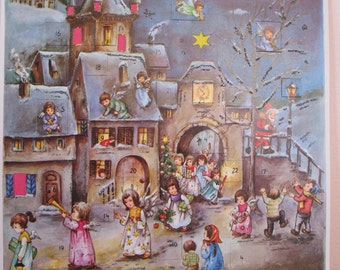 Vintage Christmas Advent Calendar, Germany, Angels, Glitter