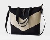 LARGE, Solid Black chevron tote / diaper bag / shoulder bag with detachable strap  Design by BagyBags