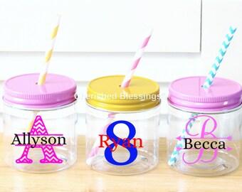 Plastic Mason Jars, Personalized Kids Mason Jar cups, Wedding, Birthday, Baby Shower, 10 8oz Kids Party Favors Chevron Monogram Personalized