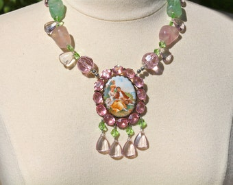 Statement Necklace, Vintage Brooch, Cameo, Polished, Fluorite, Pink, Green, Glass, Silver, Upcycled, Jennifer Jones, OOAK - Young Lovers