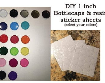 """DIY Bottlecap kit includes 55 Bottlecaps & 60 1"""" inch (25mm) clear epoxy adhesive photo seal stickers for photo magnets, necklaces, keychain"""