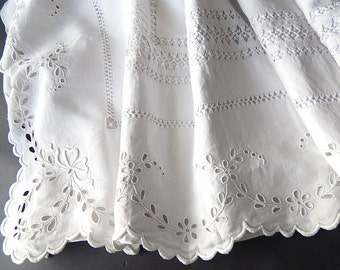 Fine French Vintage Sheet Heavily Embroidered