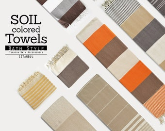 SALE 70 OFF/Turkish Beach Bath Towel Peshtemal / Soil Color / Wedding Gift, Spa, Swim, Pool Towels and Pareo