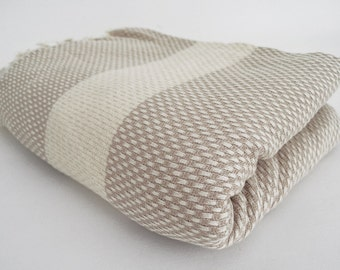 SALE 30 OFF/ Blanket / Beige / Double Size / Bedcover, Beach blanket, Sofa throw, Traditional, Tablecloth