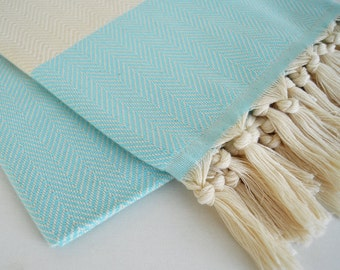 BathStyle / Herrigbone Turkish Beach BathTowel / Ice Blue /  Wedding Gift, Tea, Spa, Swim, Pool Towels