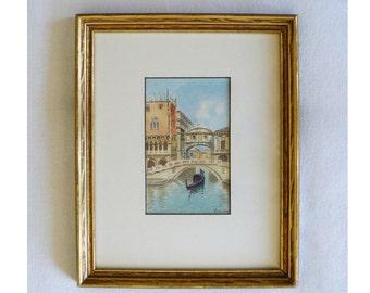 Original Vintage Watercolor Bridge of Sighs Venice Italy Canals Alberto Trevisan