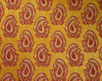 Tiny mustard paisleys - 1 yard of Silk Brocade Fabric with paisley woven in maroon