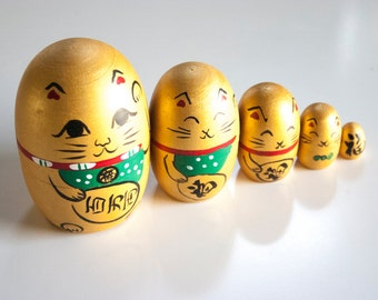 GOLD Maneki Neko Russian Dolls - 1 set of Nested Matryoshka Wooden Japanese Kokeshi doll