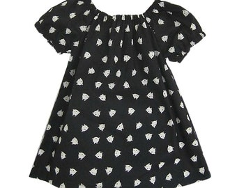 Baby Cat Dress, Black and White Peasent Dress, Baby Girl Outfit, Cotton Dress