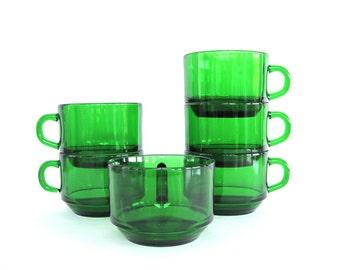 Vintage Glass Coffee Cups Mugs Set of Five Emerald Green Espresso Vereco France 1970's Kitchen Decor