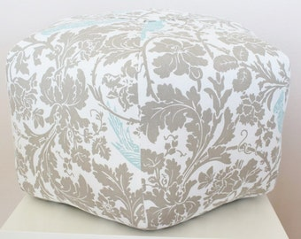 Floral Floor pouf / Foot cushion /  Moroccan Stool / Floor Cushion / Bohemian Decor /  Large Pouf / Floral Damask