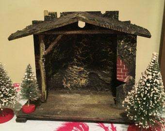 Nativity Stable Manger Christmas  Antique Wooden Creche