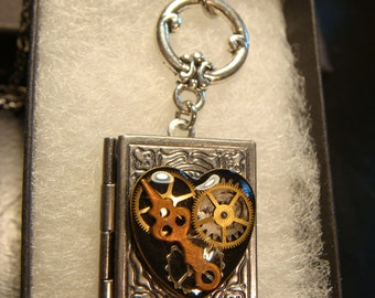 Steampunk Style Heart with Watch parts and Gears Book LOCKET Necklace- Makes a great VALENTINES DAY Gift (1986)