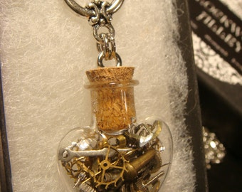 Steampunk Heart Vial Necklace- Made with Gears and Watch Parts (2042)
