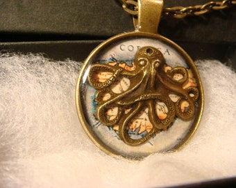 Octopus over Vintage Map  Steampunk  Inspired Pendant Necklace- Antique Brass (2091)