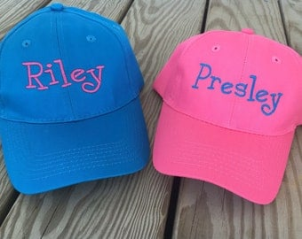 Kids youth Custom Personalized Monogrammed Baseball Cap Hat - hot neon pink, sapphire blue, neon yellow, lime green etc